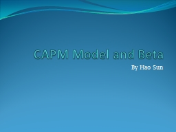 CAPM Model and Beta