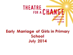 Early Marriage of Girls in Primary School