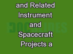 i -INSPIRE and Related Instrument and Spacecraft Projects a