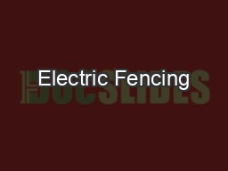 Electric Fencing PowerPoint PPT Presentation