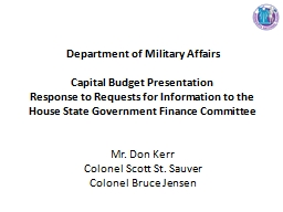 Department of Military Affairs PowerPoint PPT Presentation