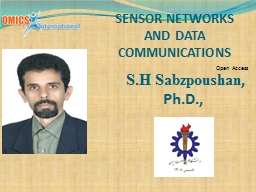 SENSOR NETWORKS AND DATA COMMUNICATIONS