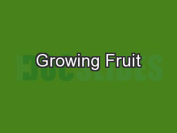 Growing Fruit PowerPoint PPT Presentation