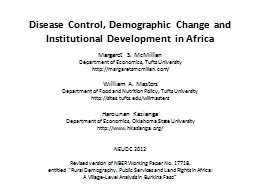Disease Control, Demographic Change and Institutional Devel PowerPoint PPT Presentation