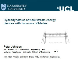 Hydrodynamics of tidal stream energy