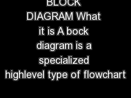BLOCK DIAGRAM What it is A bock diagram is a specialized highlevel type of flowchart
