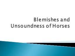Blemishes and Unsoundness of Horses