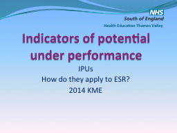 Indicators of potential under performance