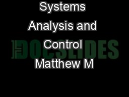 Systems Analysis and Control Matthew M PDF document - DocSlides