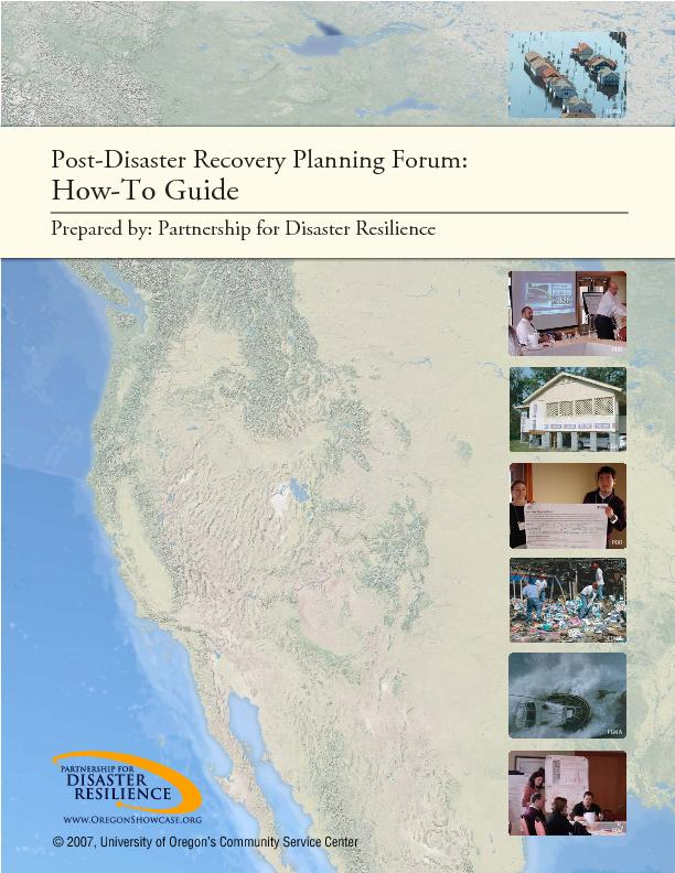 Post-Disaster Recovery Planning Forum: How-To Guide  -Merriam-Webster