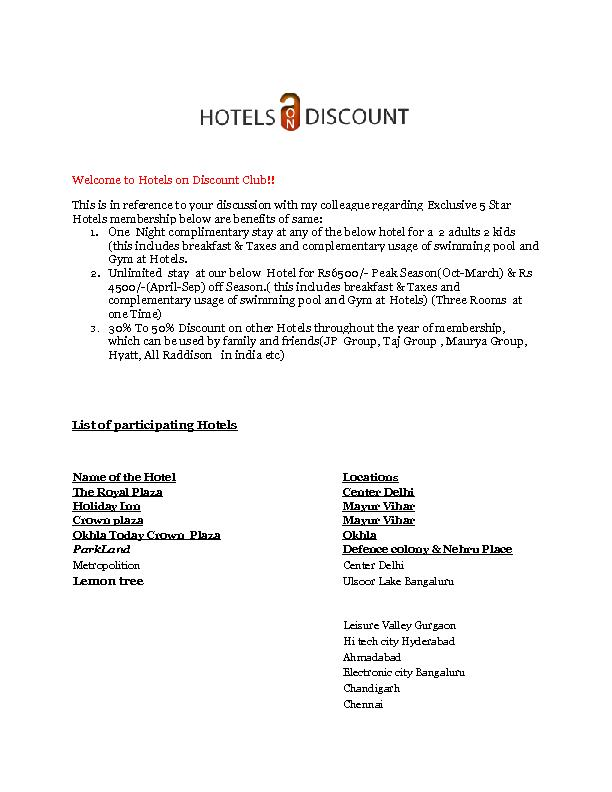 Hotels on Discount Club!!