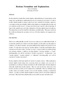 Boolean Formalism and Explanations Eric C PDF document - DocSlides