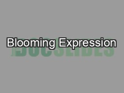 Blooming Expression PowerPoint PPT Presentation