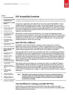 Adobe Acrobat X Accessibility PDF Accessibility Overview