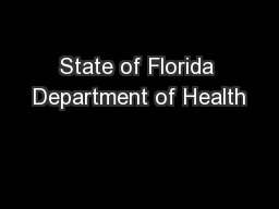 State of Florida Department of Health