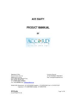 ACE EQUITY   PRODUCT MANNUAL   BY