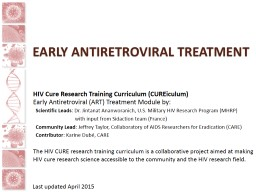 Early Antiretroviral treatment PowerPoint PPT Presentation