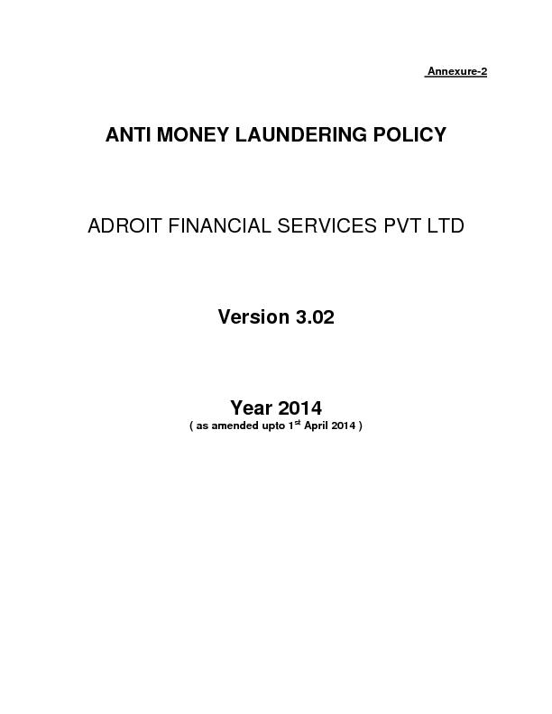 ANTI MONEY LAUNDERING POLICYADROIT FINANCIAL SERVICES PVT LTD Version