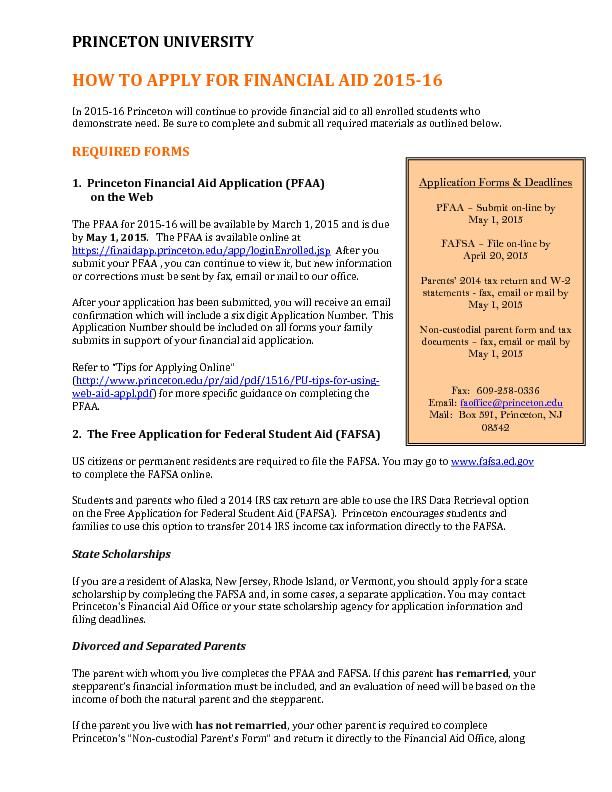 Application Forms & Deadlines