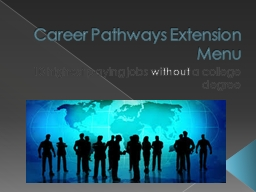 Career Pathways Extension Menu PowerPoint PPT Presentation