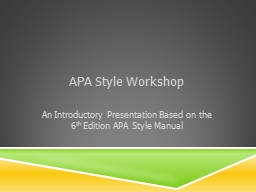 APA Style Workshop