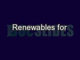 Renewables for