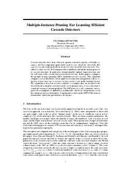 MultipleInstance Pruning For Learning Efcient Cascade Detectors Cha Zhang and Paul Viola Microsoft Research One Microsoft Way Redmond WA  chazhangviola microsoft