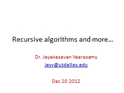 Recursive algorithms and more…