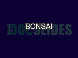 BONSAI PowerPoint PPT Presentation