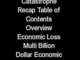 H  Global Catastrophe Recap  Impact Forecasting H  Global Catastrophe Recap Table of Contents Overview Economic Loss Multi Billion Dollar Economic Loss Events Insured Loss Billion Dollar Insured Loss