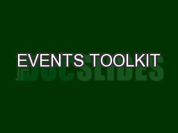 EVENTS TOOLKIT