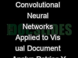 Best Practices for Convolutional Neural Networks Applied to Vis ual Document Analys Patrice Y PowerPoint PPT Presentation