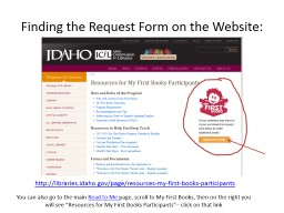 Finding the Request Form on the Website: