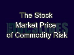 The Stock Market Price of Commodity Risk