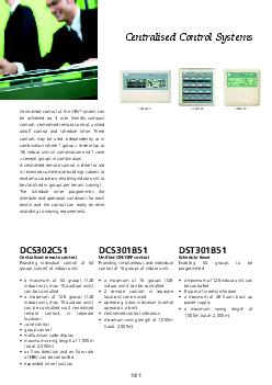 DSTB DCSB DCSC Centralised Control Systems Centralised control of the VRV system can be achieved via user friendly compact controls centralised remote control unied onoff control and schedule timer