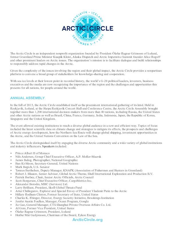 ArcticCircle.org More than 50 companies and organizations participated