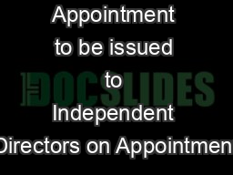 Draft Letter of Appointment to be issued to Independent Directors on Appointment