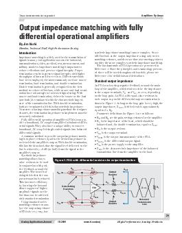Out put impedance matching with fully differential operational amplifiers