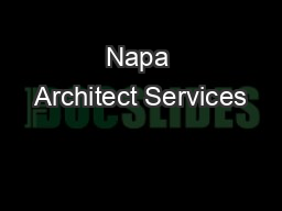 Napa Architect Services
