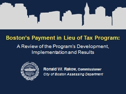 Boston's Payment in Lieu of Tax Program: PowerPoint PPT Presentation