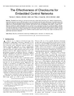 The Effectiveness of Checksums for Embedded Control Networks Theresa C