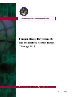 Foreign Missile Developments and the Ballistic Missile Threat Through