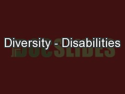 Diversity - Disabilities PowerPoint PPT Presentation