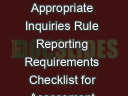 All Appropriate Inquiries Rule Reporting Requirements Checklist for Assessment