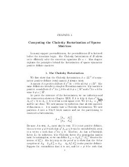 CHAPTER  Computing the Cholesky Factorization of Sparse Matrices In many support preconditioners the preconditioner is factored before the iterations begin