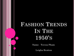 Fashion Trends In The