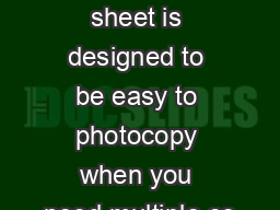 This pullout sheet is designed to be easy to photocopy when you need multiple co