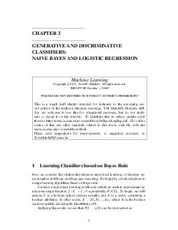 CHAPTER  GENERATIVE AND DISCRIMINATIVE CLASSIFIERS NAIVE BAYES AND LOGISTIC REGRESSION Machine Learning Copyright PDF document - DocSlides