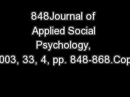 848Journal of Applied Social Psychology, 2003, 33, 4, pp. 848-868.Copy