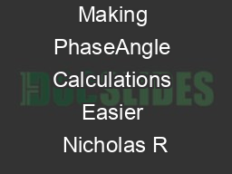 Making PhaseAngle Calculations Easier Nicholas R PDF document - DocSlides